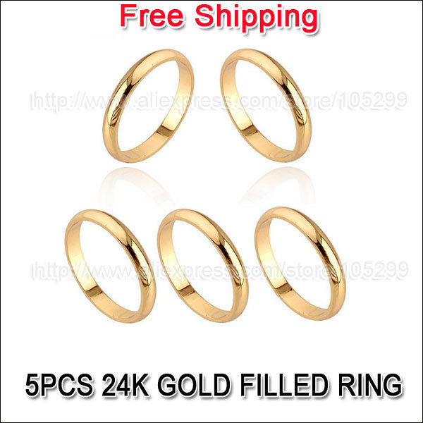 Free shipping Wholesale 50Pcs Mix Sizes 3MM Finger Rings 24K Yellow Gold Filled Classic Wedding Part GF Men Women Rings Jewelry<br><br>Aliexpress