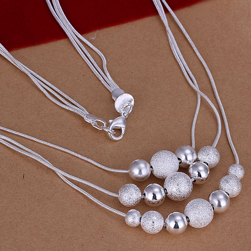 Free shipping factory price top quality silver plated jewelry necklace 18inch fashion beads necklace pendant SMTN020