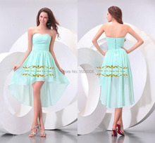 Sweetheart A-Line Chiffon Party Dress Off the Shoulder Knee-Length Party Vestidos High-Low Strapless Pleat Celebrity Party Dress(China (Mainland))