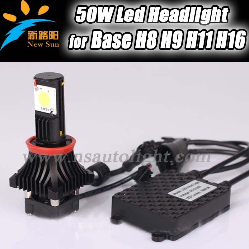 Free shipping H11 high power led car headlight American Cree Led chips 25w high power 1800lm with LED COB module