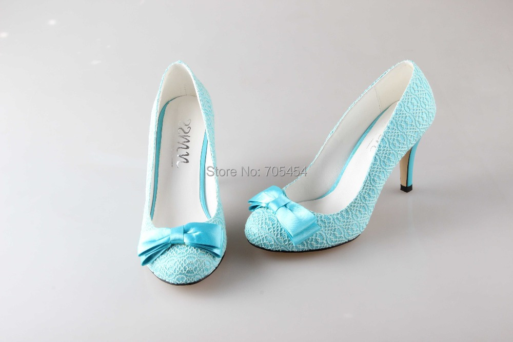 BS761 Free Shipping Custom Handmade Light Blue Lace Bowtie Party Shoes Bridal Wedding Shoes In
