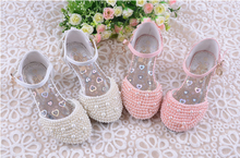2014 summer girls' high-heeled  sandals,  girls' single princess shoes with many of beads and two color optional 176(China (Mainland))