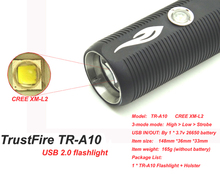 TrustFire TR-A10 CREE XM-L2 LED Flashlight USB Port as Power Bank led Torch (BY 3.7v 26650 battery)(China (Mainland))