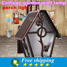 High quality,220 v e27 modern european-style villa courtyard /balcony/garden/bronze corridor wall lamp, porch lights 8*26*23 cm(China (Mainland))