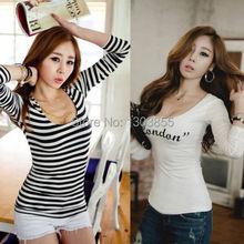2014 New Korean Fashion Women Loose Scoop Cotton Tops Long Sleeve Shirt Casual BlouseSize S M L