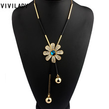 Buy VIVILADY Fashion Metal Chain Flower Long Chain Tassels Necklaces Women Crystals Rhinestones OL Bohemian Costumes Jewelry Bijoux for $3.49 in AliExpress store
