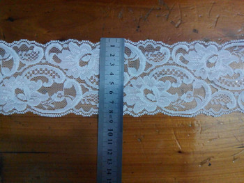 Free Shipping 5yards/lot Width 8CM white Elastic Lace Fabric diy clothes fabric accessories