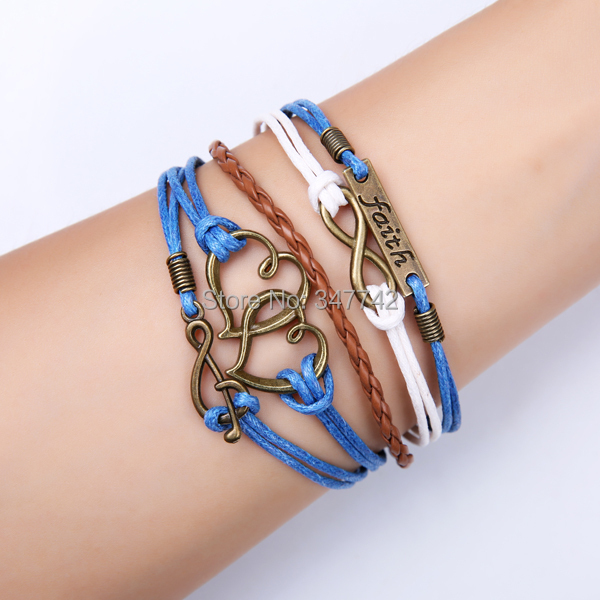 2014 fashion(mixed styles) infinity faith bracelet, double heart charm music bracelet woman - YiWu Bebillion Jewelry store