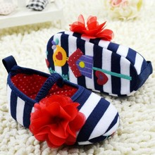 Lovely Baby First Walkers Girls Infant Striped Flower Decor Soft Elastic Shoes 0-18M Prewalker(China (Mainland))