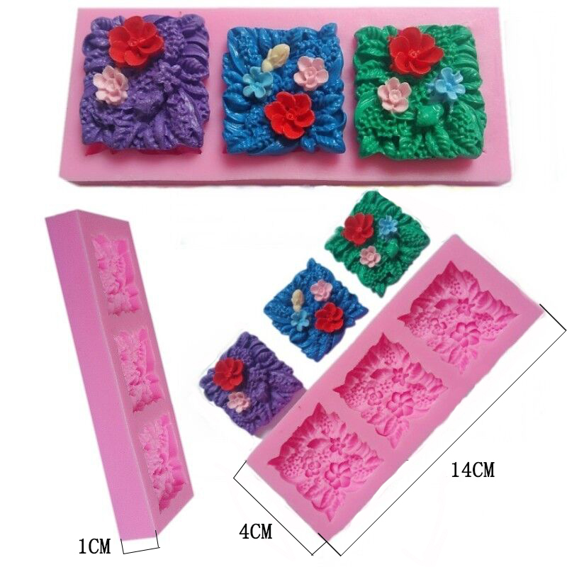3 hole square flower silicone mold fondant soap molds DIY Mold Chocolate Baking Non-stick Cake Pudding Pastry Mould Tools 50-66(China (Mainland))