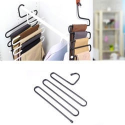 D19   Practical Multi-Purpose 5 Layers Pants Hanger Trousers Tie Rack Space Saving 1pc