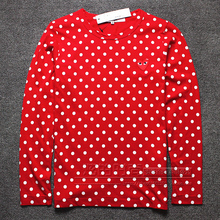 COMME Des GARCONS CDG PLAY JAPAN RED HEART DOTS UNISEX WOMEN MEN'S LONG SLEEVE BLACK T- SHIRT PULLOVER SUMMER O NECK SWEAT SHIRT