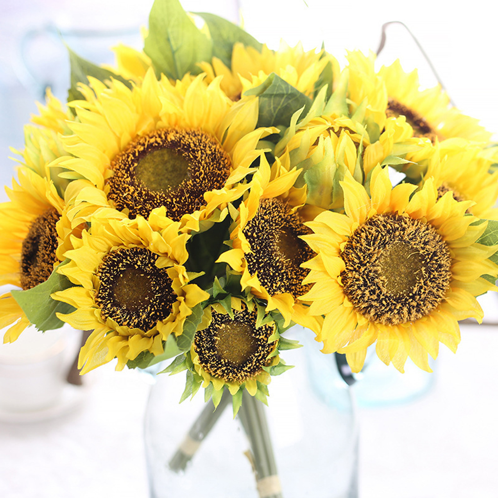 2018 Wholesale Artificial Sunflower Bridal Bouquet Silk Flower