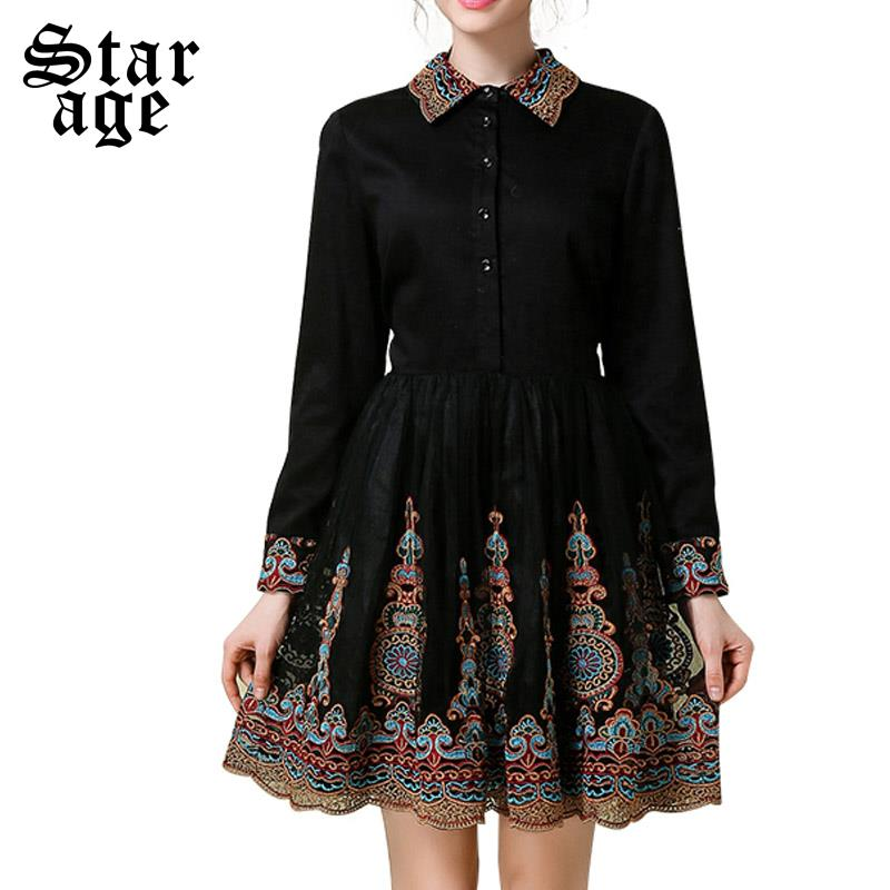 S~5XL Plus Size Ladies Ethic Embroidery Dress 2016 Spring Women Long Sleeve Pleated Mesh Dresses Luxury Boutique Clothes 1988(China (Mainland))