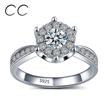 Elegant Rings with Austrian Crystal White Gold Plated Wedding Rings for Women CZ Diamond Jewelry Engagement Accessories CC093(China (Mainland))