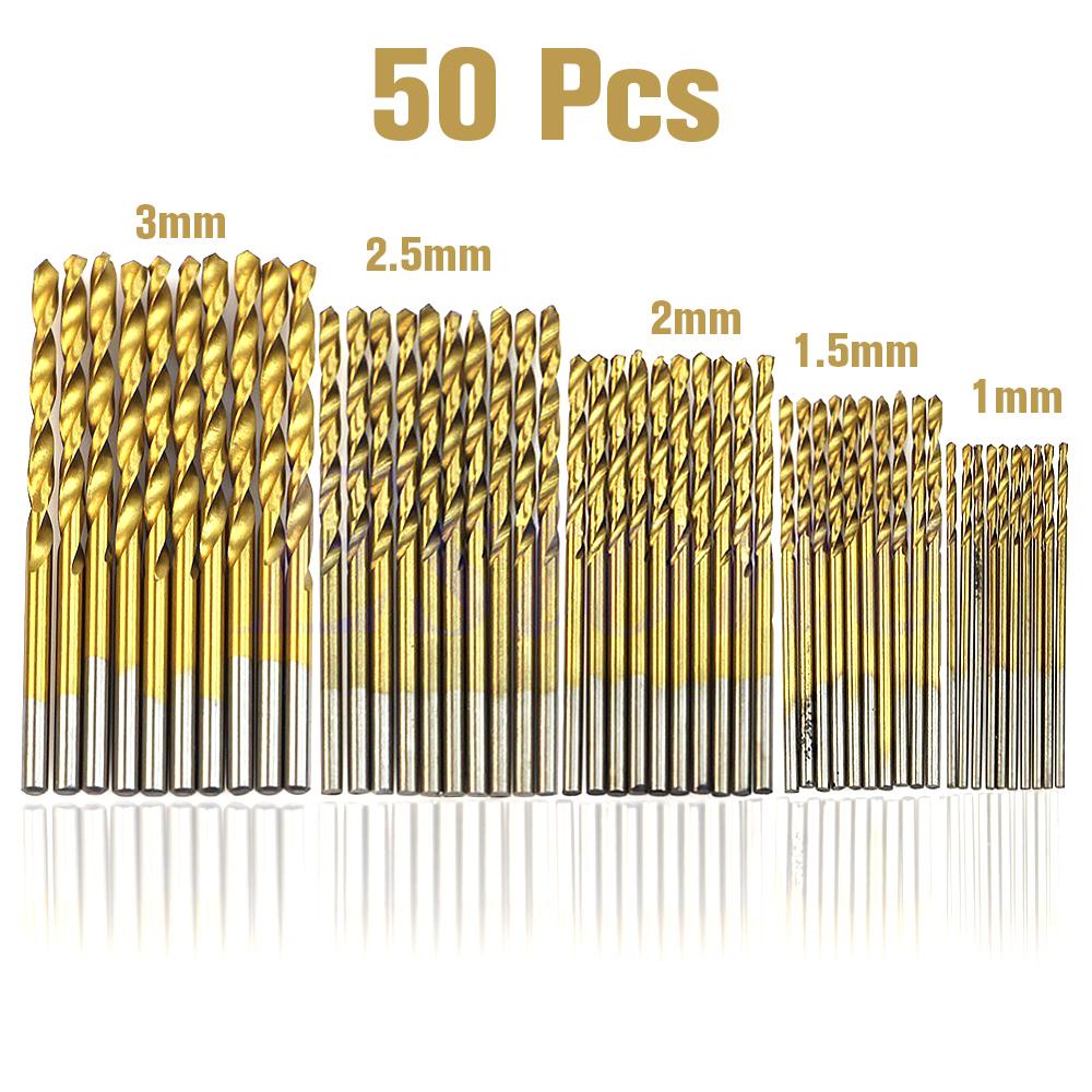 4mm diamond twist drill bit - 50 Pcs Drill Bit Set Hss 4241 Titanium Coated Twist Drill Bits Tool Set Metric System