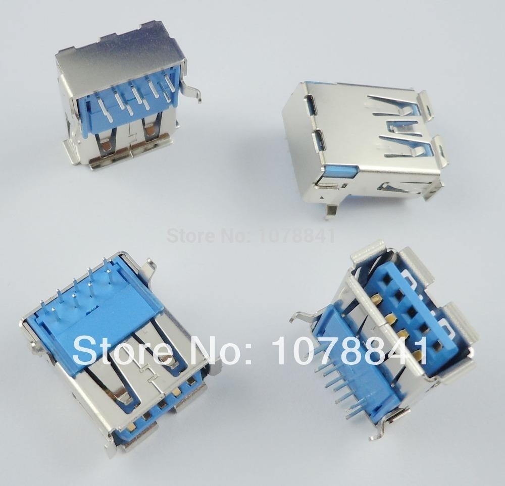 100 Pcs Per Lot USB 3.0 Type-A Female 9 Pin DIP Socket Connector<br><br>Aliexpress