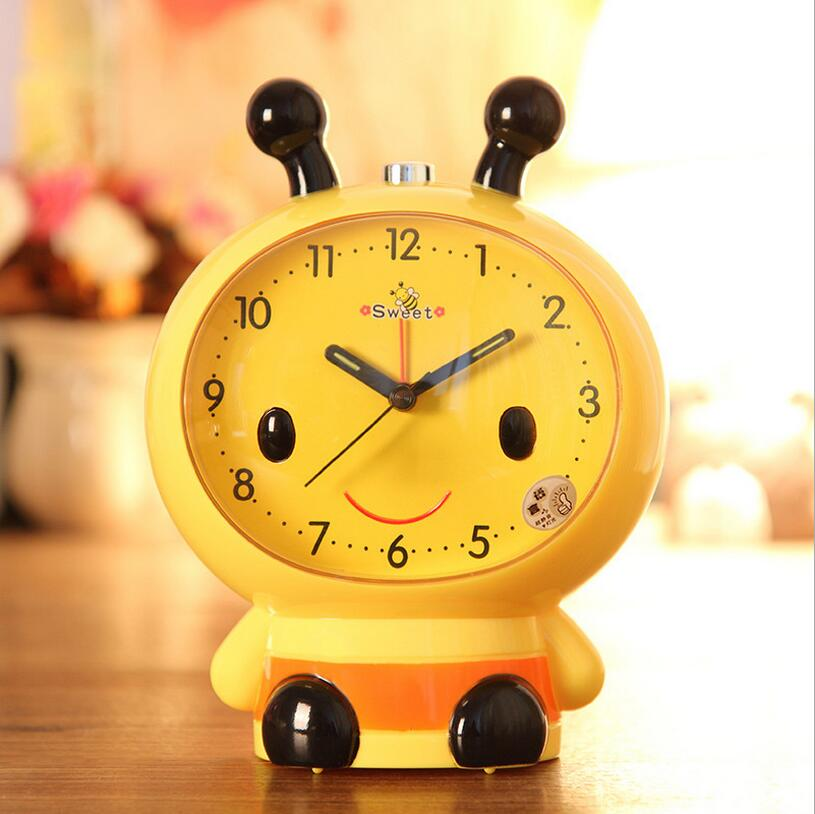 Creative lovely children cartoon alarm clock Household adornment modelling of bees will talk with luminous alarm clock(China (Mainland))