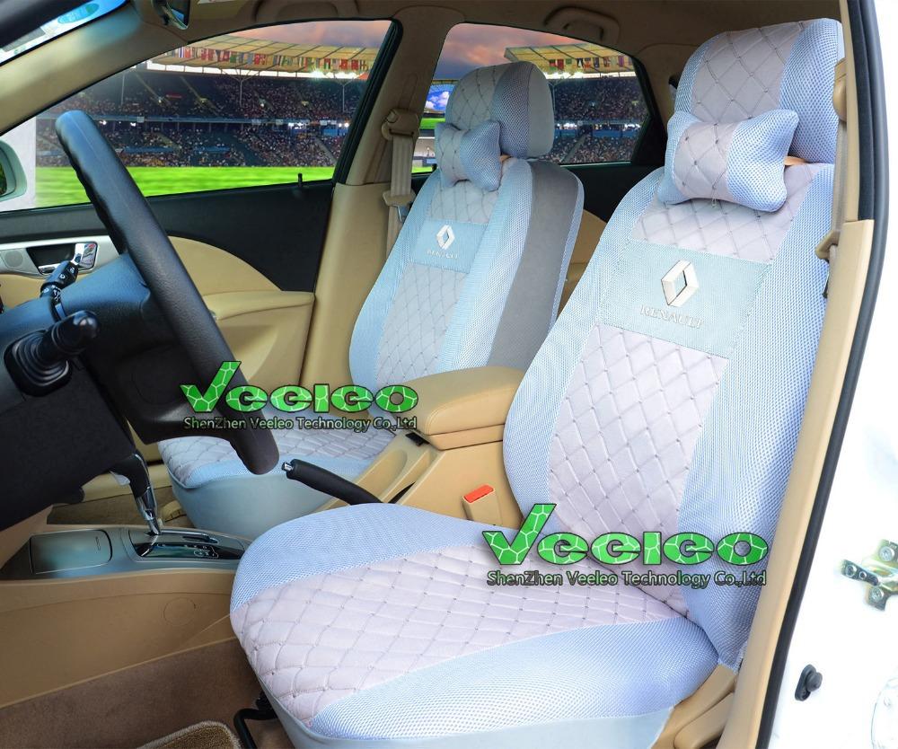 Logo+Universal Seat Cover For RENAULT Duster Scenic Clio Fluence Megane Laguna Espace Sandero Logan+Silk Material+Free Shipping(China (Mainland))