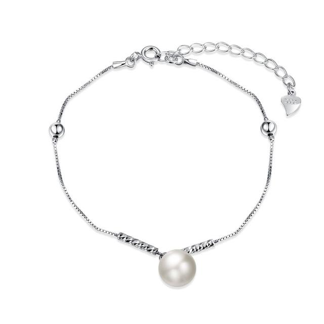 Новый оригинальный стерлингового серебра серебристо-ювелирные белый жемчуг шарм браслеты , совместимой с DIY ювелирных