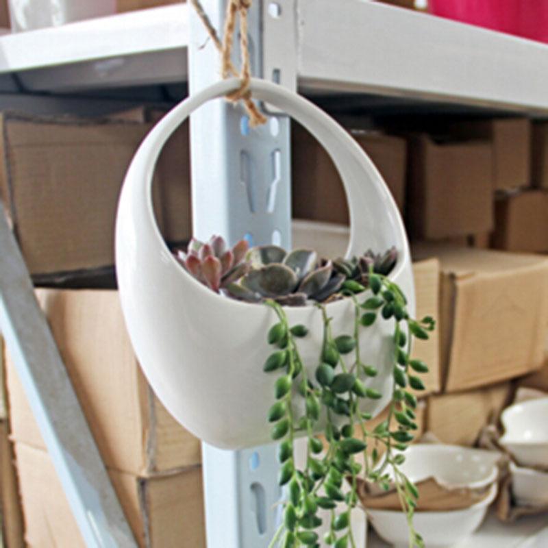 18x16cm White Ceramic flower pot planters for sale planter designs for sale desktop flower vases garden decor basket(China (Mainland))