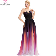 Rainbow Prom Dress Grace Karin Ombre Print Shade Chiffon Strapless Long Elegant Formal Gowns Party Dresses Gradient Prom Dress(China (Mainland))