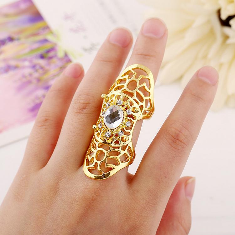 2015 Women Fashion Charm New Clear Big Rhinestone Metal Gold Silver Hollow Flower Long Full Finger Armor Open Ring A00238 - Xiang ou store