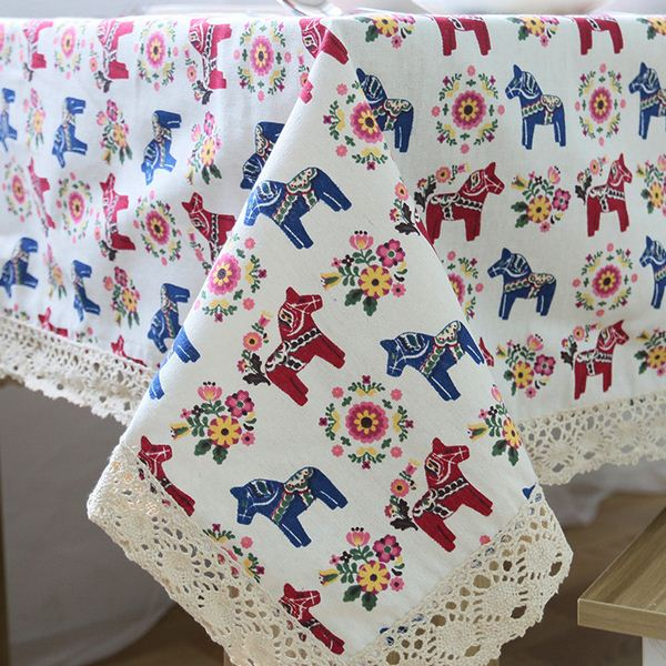 Linen Table Cloth with Lace Horse Print Country Style Rectangular Dinning Tablecloths Cover Kitchen Toalha de Mesa ZB-10(China (Mainland))