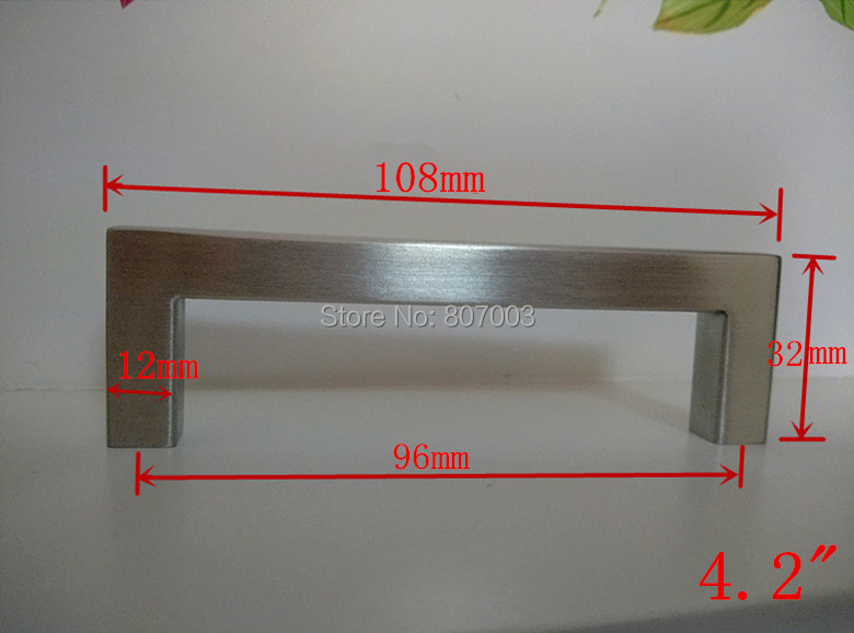 """(Length:108mm)12*12mm Square Bar door handle Stainless Steel Kitchen Door Cabinet Handle Pull Knob 4.2""""(China (Mainland))"""