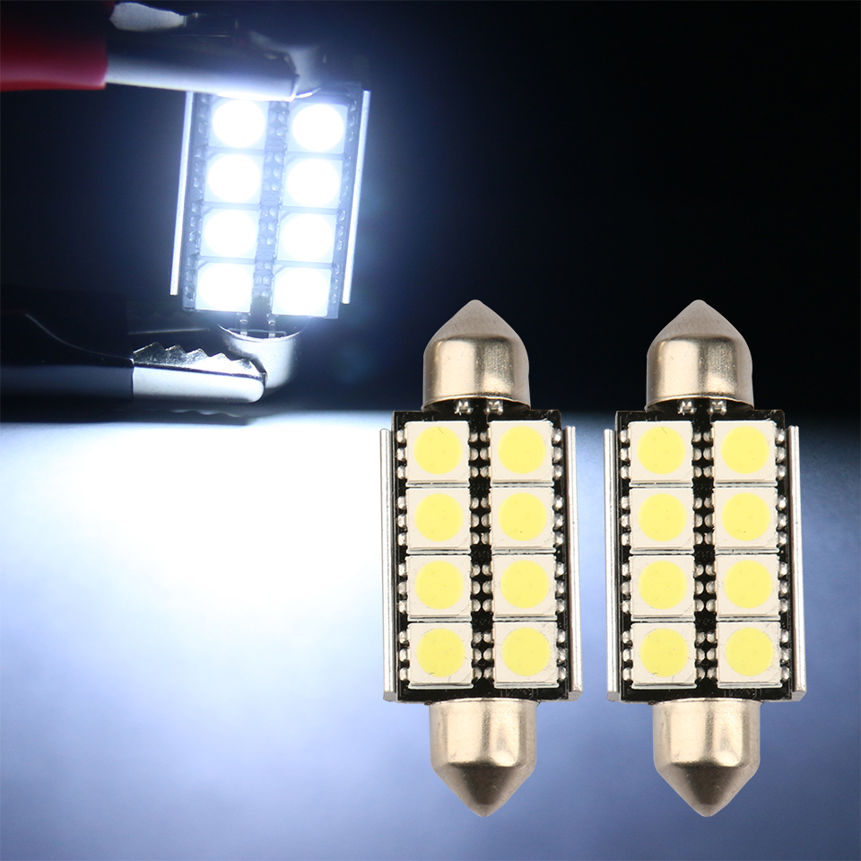 10Pcs CANBUS 5050 8 SMD 41mm Car Led Auto Interior Dome Door Light Bulb 12V Work Lamp(China (Mainland))