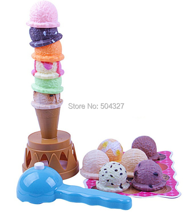 Free Shipping 1Set Ice Cream Tower Fun Family Party Game Balance Toy Stacking Ice Cream Game(China (Mainland))