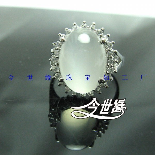 Luxury bling 925 silver natural moonstone platinum natural moonstone ring female(China (Mainland))