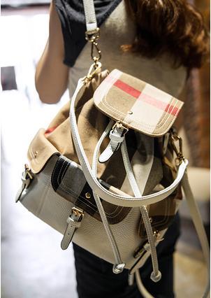 2014 Yeni Varış Kadın Moda Ekose Seyahat Sırt Çantaları Ile Dekorasyon Kemer Beyaz Deri sırt çantaları Bej(China (Mainland))