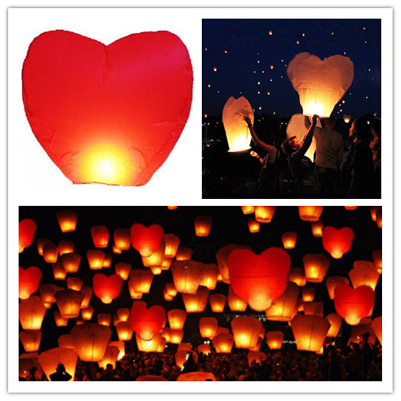 Love shape 11pcs/lot heart shape umbrella flying paper sky lanterns wire free wedding/party decoration free shipping(China (Mainland))