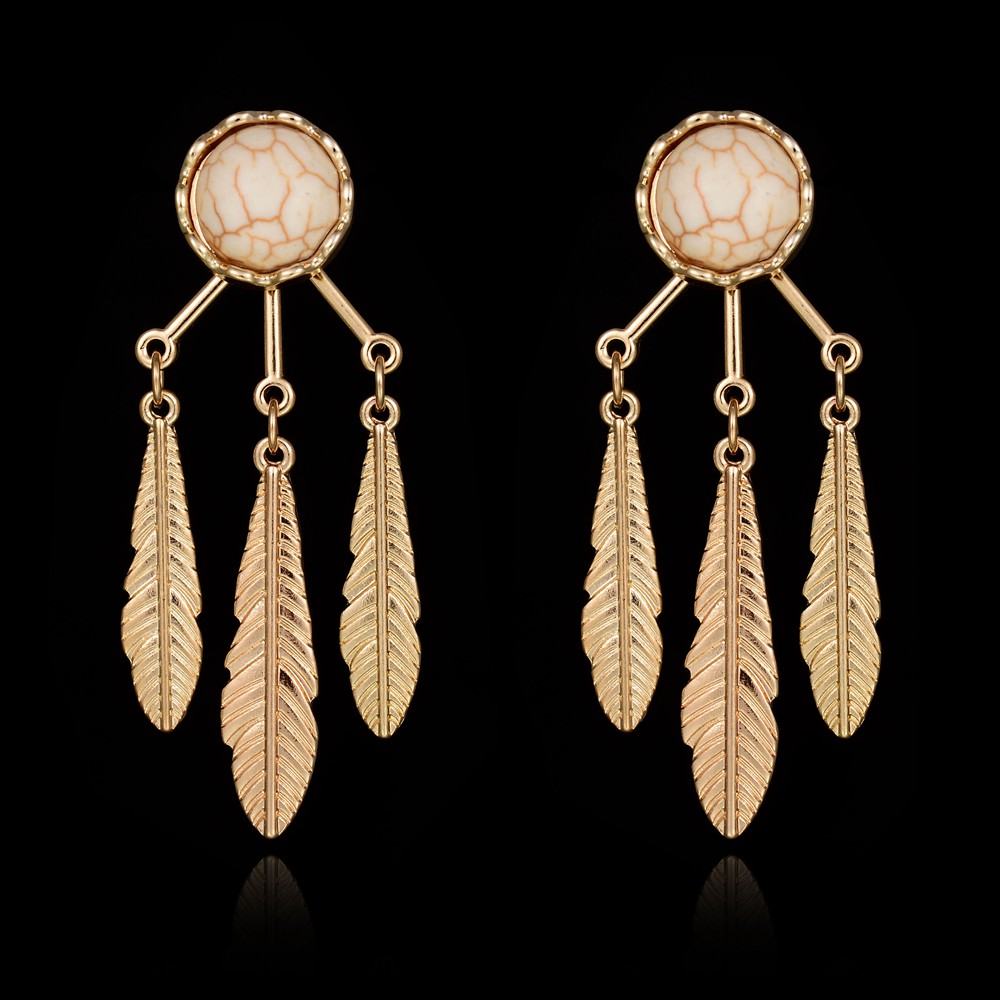 2016 NEW Punk Round Faux Marble Gold Plated Leaf Feather Long Tassel Earrings Women Party boucle d'oreille from India Jewelry(China (Mainland))