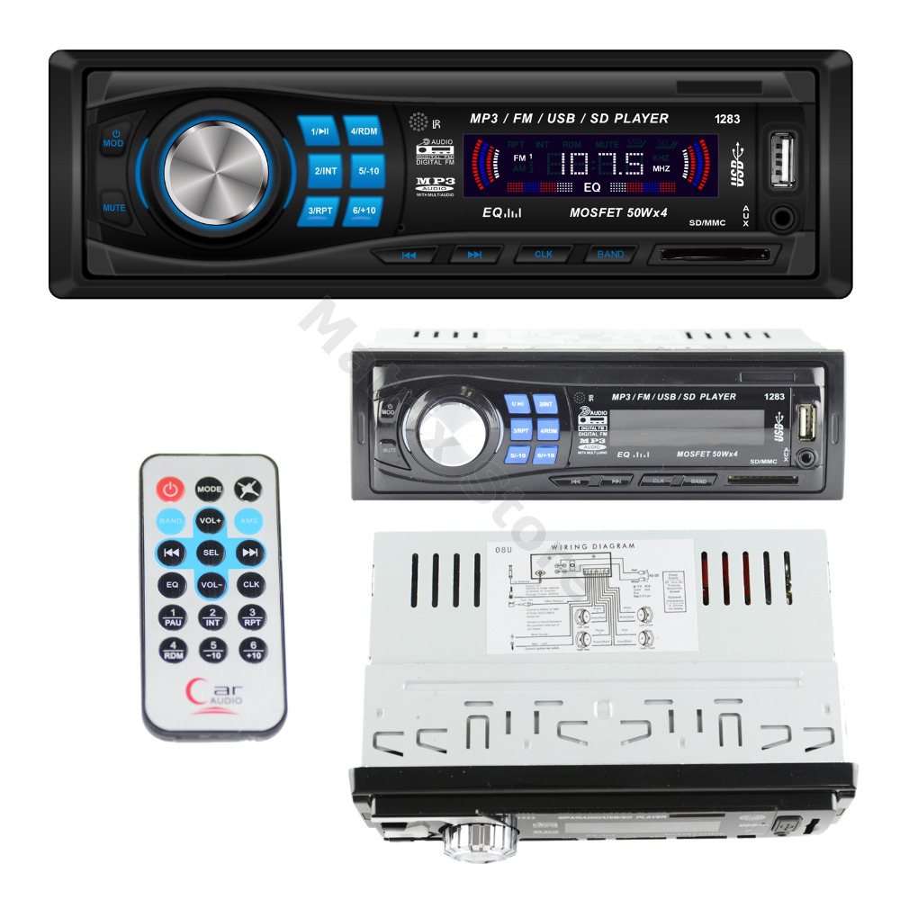 Car Vehicle Music Stereo In-Dash 1-Din MP3 Player Radio USB/SD/AUX/MMC 50wX4 Memory Store FM EQ Model LG-1283(China (Mainland))