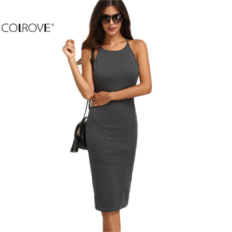 COLROVE Grey Crisscross Back Round Neck Backless Sleeveless Sheath Dresses 2016 Ladies Slip Sexy Slim Midi Dress(China (Mainland))