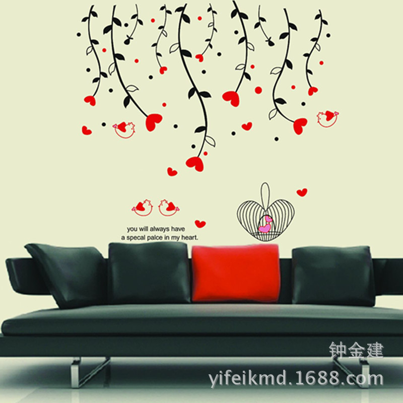 Wholesale selling fashion stickers Home Furnishing decorative wall stickers AY828 love birds(China (Mainland))