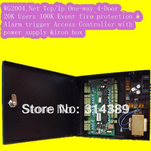 WG2004.NET TCP/IP Four 4-Door Access Controller 20K Users 100K Events MEM  Alarm Trigger Programmable with power supply<br><br>Aliexpress