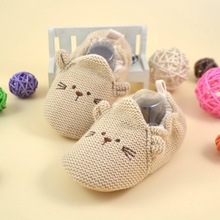 1pair spring autumn cotton hemp cartoon animal print elastic Newborn baby girls boys soft Crib Shoes(China (Mainland))