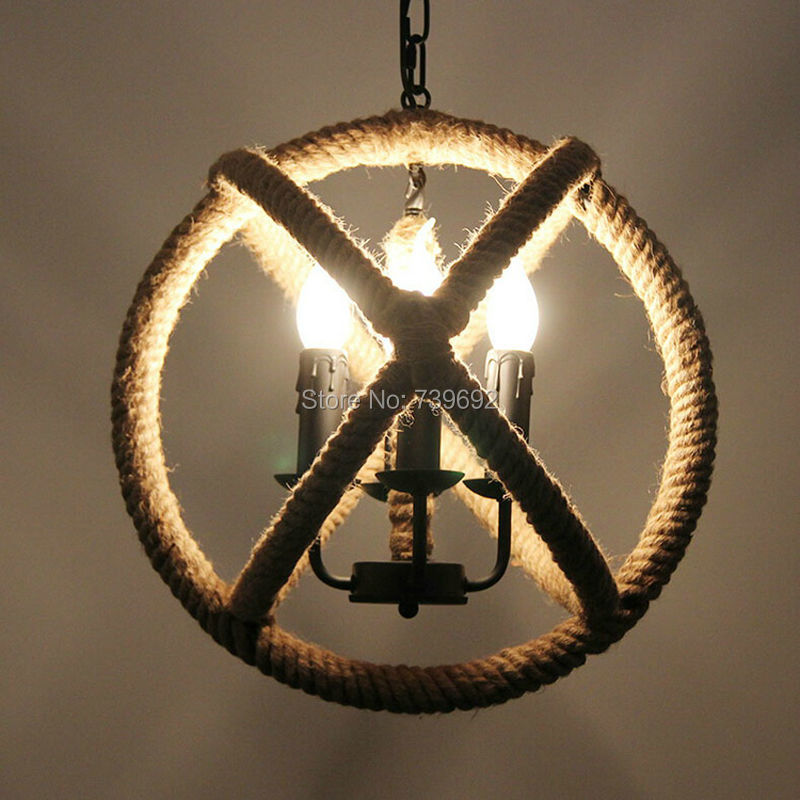 Loft Style Nordic Retro Hanglamp Creative Pastoral Clothing Store Coffee Hall Rope Chandelier Vintage Industrial Lighting<br><br>Aliexpress