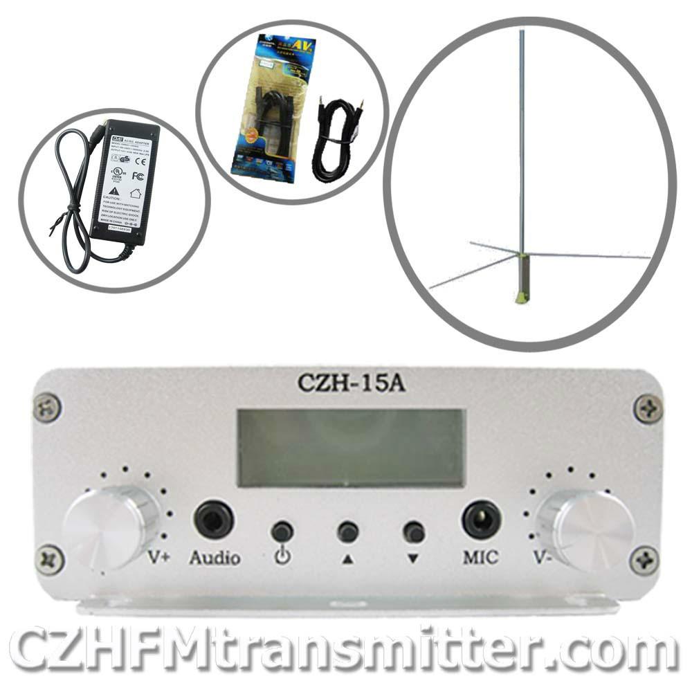 CZH CZE-15A 15WFM stereo PLL broadcast transmitter 1/2 wave professional antenna kit FMUSER(China (Mainland))