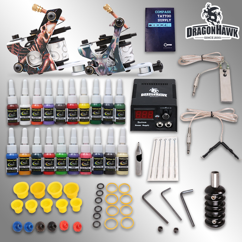 Complete Tattoo Kit 2 machine Gun 20 Color Inks Power Supply D175GD(China (Mainland))