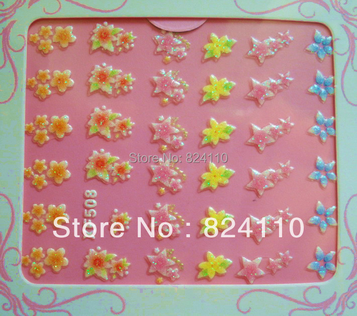 free shipping Nail sticker factory Original 3d color french nail sticker more 2000 Ble designs(China (Mainland))