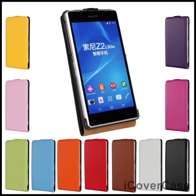 Genuine Leather Flip Cover Case Sony Xperia Z2 D6503 D6502 L50W 11 Colors - icovercase Official Store store