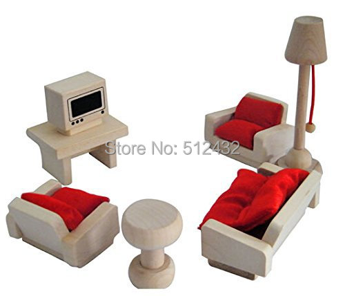 Mini Wooden Dollhouse Furniture Set Lounge In Furniture Toys From Toys Hobbies On Aliexpress