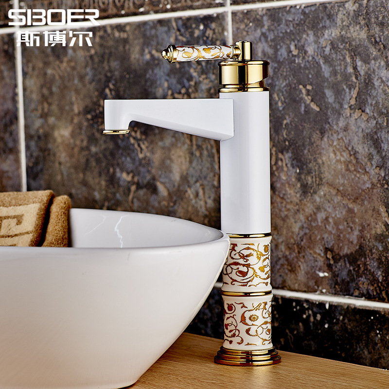 Hot Tap Wholesale White Alternating Hot and Cold White Paint Baking Ceramic Faucet(China (Mainland))