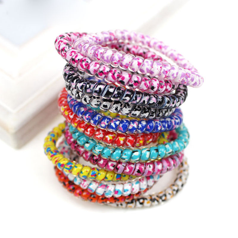 5Pc Women Fashion Multicolor Hair Accessories Elastic Ring Hair Bands Rope Scrunchies Gum Telephone Wire Traceless For Hair Ring(China (Mainland))