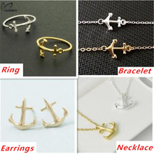 2015 Punk Dainty Tiny Anchor Pendant Necklace Stud Earrings Bracelet Ring Fine Jewelry Sets in Gold/Silver