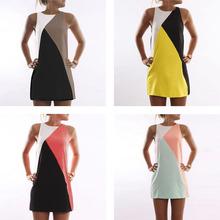 Fashion Women Robe Sweet Sexy Stitching Sleeveless O-Neck A-line Mini Dress Summer Clothing HB88(China (Mainland))